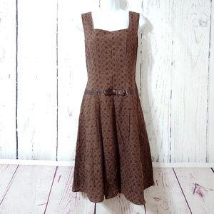 Talbots Brown Eyelet Midi Dress